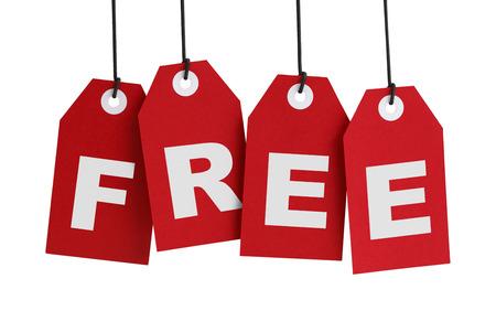 Vier Grote Red Tags met het Woord gratis op het, geïsoleerd op witte achtergrond. Stockfoto