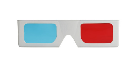 3-D Glasses form the front view Isolated on White Background. Stock Photo