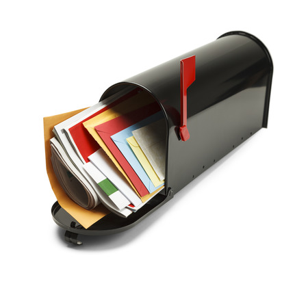 junk mail: Open Black Mailbox Filled with Mail Isolated on White Background.