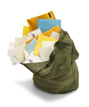 mail: Large Green Mail Bag with Envelopes Spilling Out Isolated on White Background.