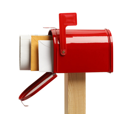 mailbox: Side View of an Open Red Mailbox With Mail Isolated on White Background.