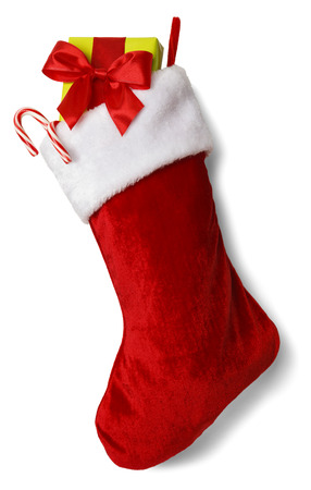 christmas decorations: Christmas Stocking with Presents Isolated on White Background.