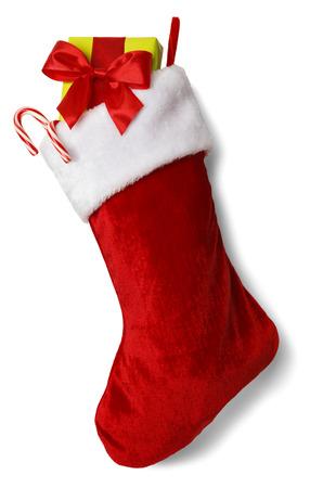 verticales: Media de la Navidad con los presentes aislados sobre fondo blanco. Foto de archivo