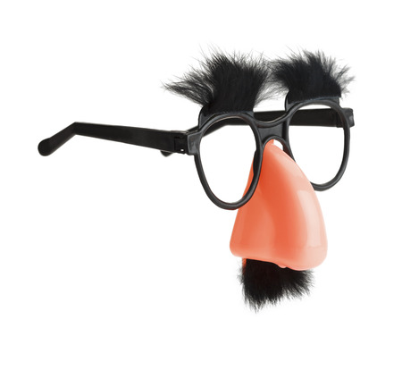 nose: Groucho Marx Disguise with Mustache, Glasses and Nose, Isolated on White Background.