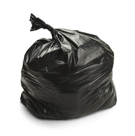 black plastic garbage bag: Full Black Trash Bag Isolated on White Background.