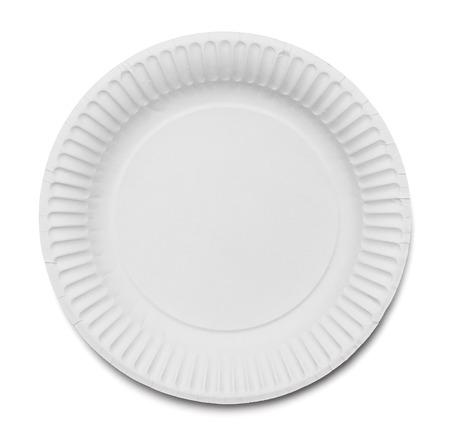 White Paper Plate Isolated on White Background. Archivio Fotografico