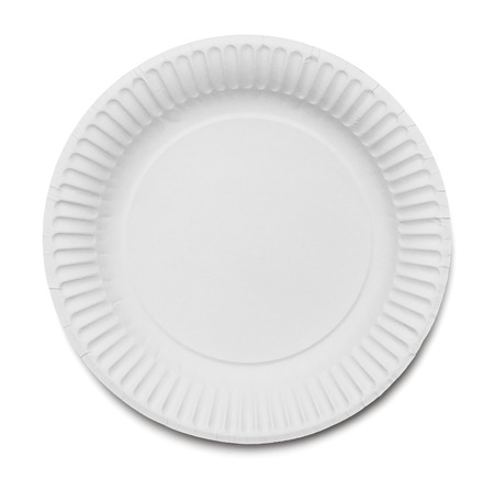 plate: White Paper Plate Isolated on White Background. Stock Photo