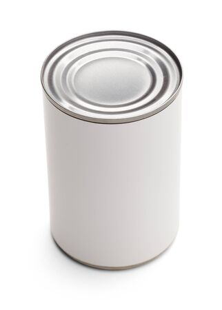 canned goods: Blank Food Can with White Label for Copy Space. Isolated on a White Background.