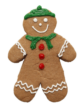 female likeness: Gingerbread Cookie With Winter Christmas Descoration Isolated on White Background. Stock Photo