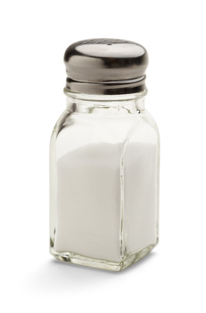 Side View of A Salt Shaker Isolated on White Background.