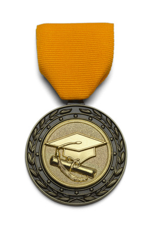 morter: Gold Medal With Graduation Hat and Scroll Isolated on White Background.