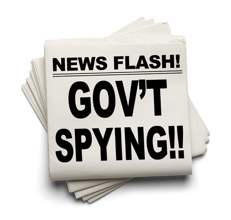 liberties: News Flash Govt Spying News Paper Isolated on White Background. Stock Photo