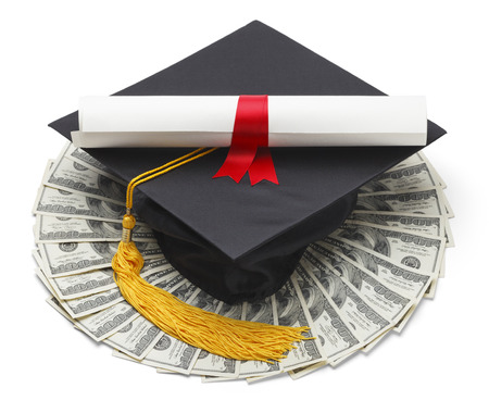 cash money: Graduate Hat with Degree and Cash Money Isolated on White Background.