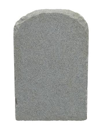 Grafsteen met kopie ruimte geïsoleerd op een witte achtergrond. Stockfoto