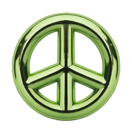 metalic: Metalic Green Peace Symbol Isolated on White Background.