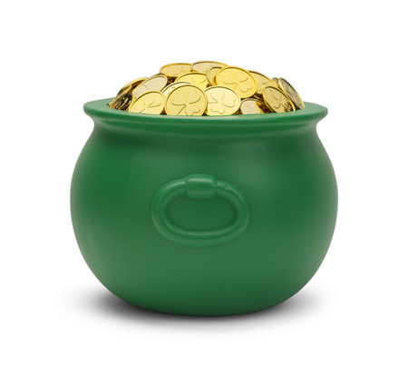 end of rainbow: Large Green Pot with Colver Gold Coins Isolated on White Background.