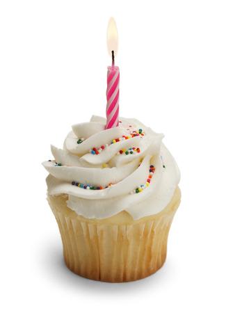 Cupcake avec Pink bougie isolé sur fond blanc. Banque d'images - 38253297