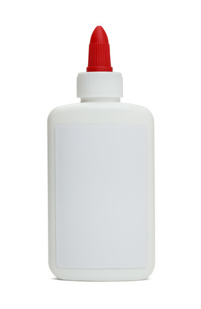 glue: Front View of Glue Bottle with Copy Space Isolated on White Background.