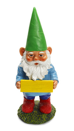 Garden Gnome Holding Blank Sign Isolated on White Background. Foto de archivo