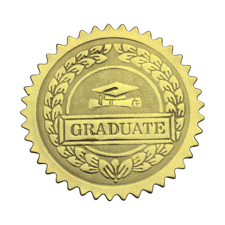 morter: Gold Star Seal with Graduate Hat and Scroll Isolated on White Background.