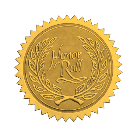 Gold Star Seal with Honor Roll Wreath Isolated on White Background.