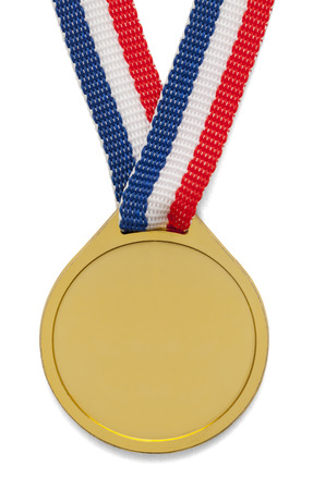 blue and gold: Blank Gold Medal with ribbon isolated on white background.