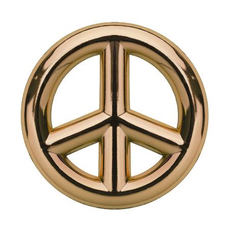 Metalic Gold Peace Symbol Isolated on White Background.