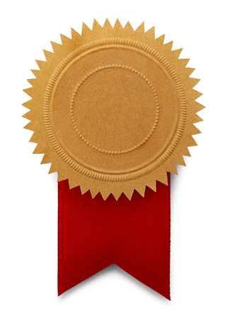Gold Seal With Large Red Ribbon Isolated on White Background.