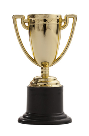 primer lugar: En primer lugar trofeo premio aislado en un fondo blanco.