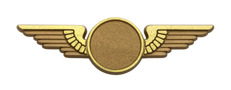 Gold Plastic Pilot Wings With Copy Space Isolated on White Background.