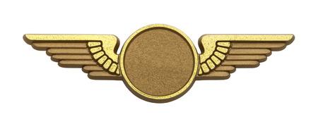 piloto: Alas piloto de plástico de oro, con copia espacio aislado en fondo blanco. Foto de archivo