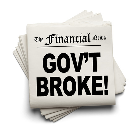 destitute: Financial New Paper with Govt Broke Headline Isolated on White Background.