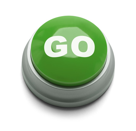 button: Large green button with the word go on it isolated on a white background.