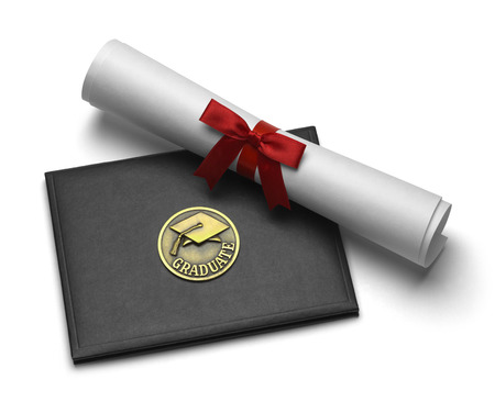 Black Diploma Cover with Rolled Degree Isolated on White Background. Stock Photo
