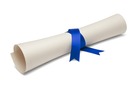 Diploma tied with blue ribbon on a white isolated background. Standard-Bild