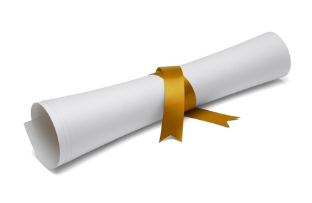 Diploma tied with gold ribbon on a white isolated background.