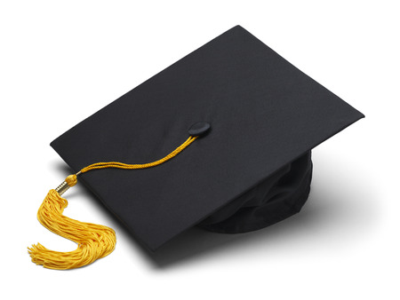 Black Mortar Board Cap with Yellow Tassel Isolated on White Background.