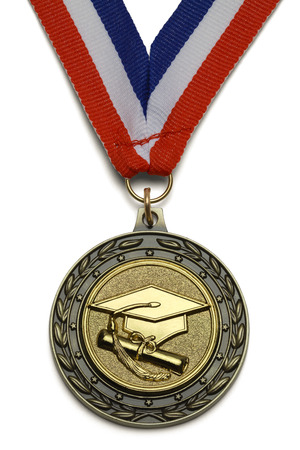 morter: Gold Graduation Award Medal With Ribbon Isolated on White Background.