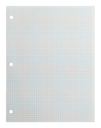 white textured paper: Blank Graph Paper Isolated on White Background.