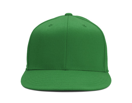 baseball hat: Green Baseball Hat Front View With Copy Space Isolated on White Background.