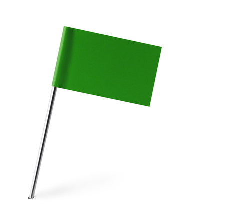 pin entry: Green Flag Isolated on White Background. Stock Photo