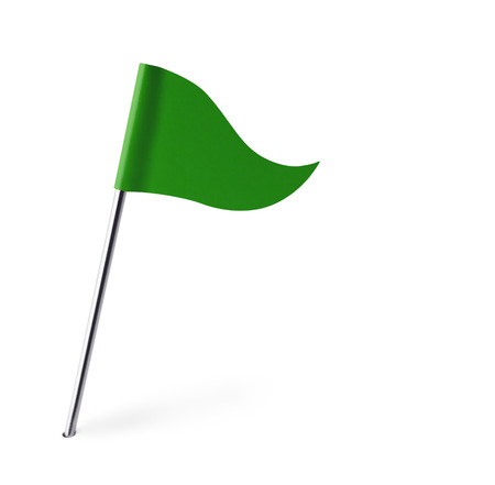 Green Golf Flag Isolated On White Background. photo