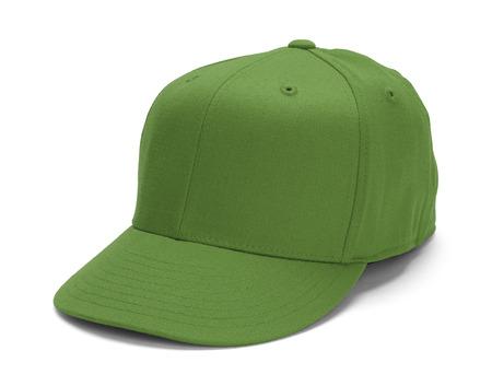 白い背景に分離されたコピー スペースと緑の野球帽子。