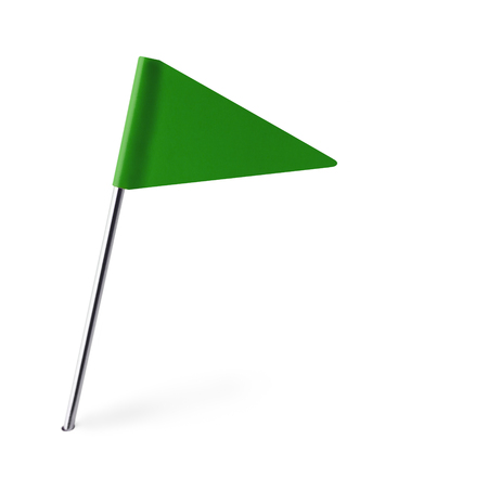 Green Pennant Flag Isolated on White Background. photo