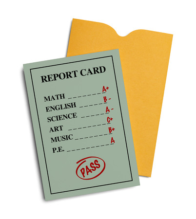 report: New Green Report Card With Yellow Envelope Isolated on White Background.