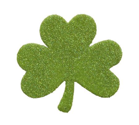 three leaf: Light Green Three Leaf Gliter Colver Isolated on White Background. Stock Photo