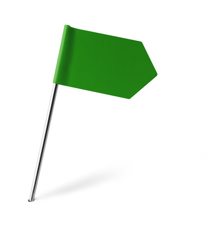 distant spot: Green Sign Flag Isolated on White Background. Stock Photo
