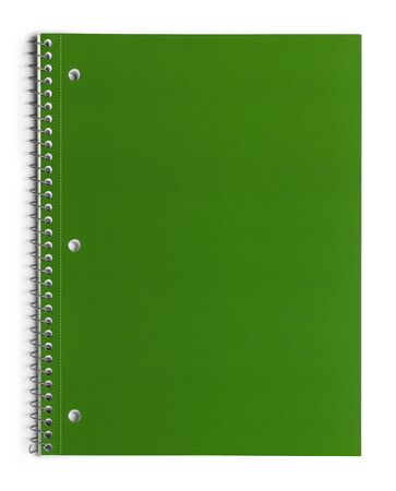 spiral notebook: Green School Line Paper Spiral Notebook Isolated on White Background.