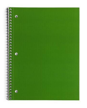 notebook paper background: Green School Line Paper Spiral Notebook Isolated on White Background.