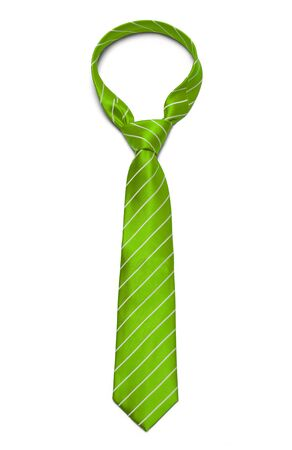 neck tie: Green and White Striped Tie Isolated on White Background. Stock Photo